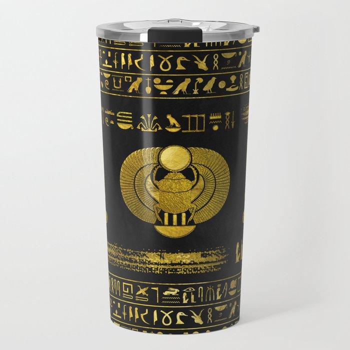 Golden Egyptian Scarab Ornament  on black leather Travel Mug