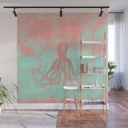 Grunge Octopus in coral and mint Wall Mural