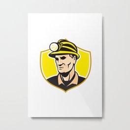 Miner With Hardhat Helmet Shield Retro Metal Print