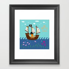 Little Captain Pirate Octopus Framed Art Print
