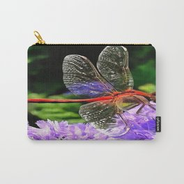 Red Dragonfly on Violet Purple Flowers Carry-All Pouch