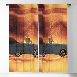 Car and Time Rabbit Blackout Curtain