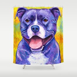 Colorful American Pitbull Terrier Dog Shower Curtain