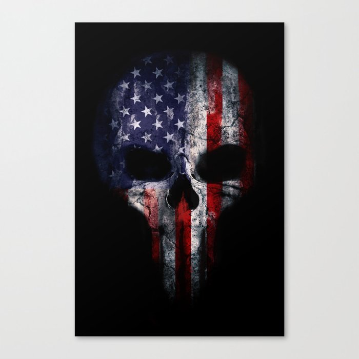 American Flag Punisher Skull Grunge Distress USA Canvas Print