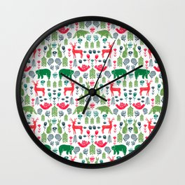 Christmas woodland scandinavian folk animals forest nature pattern gifts Wall Clock