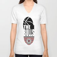 chicago bulls V-neck T-shirts featuring THE BULLS  by Robleedesigns