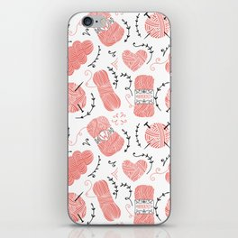 Knitting Yarn Pattern Pink iPhone Skin
