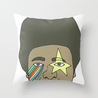 the dude Throw Pillows featuring dude by Chad spann
