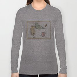 Vintage Map of Guadeloupe (1780) Long Sleeve T-shirt