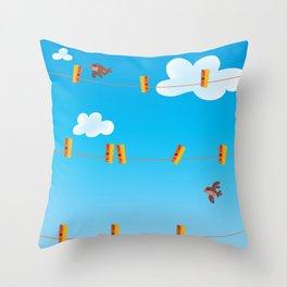 Clouds and Birds Throw Pillow