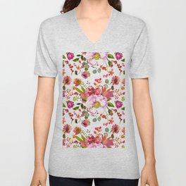 Country green coral pink red watercolor floral Unisex V-Neck
