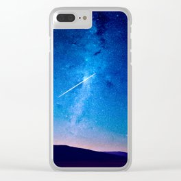distant milky way galaxy at night beautiful night sky shooting star Clear iPhone Case