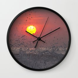 Red sunset at the beach Wall Clock