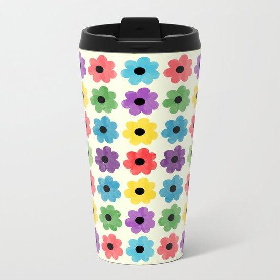 Colorful Floral Pattern IV Metal Travel Mug