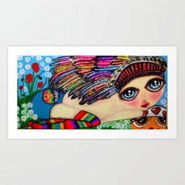 My girls with feathers Art Print