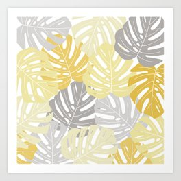 Yellow monstera deliciosa leaves Art Print