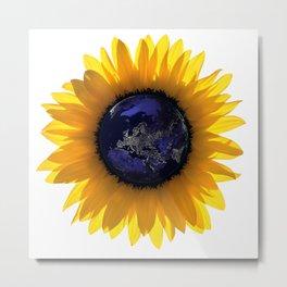 Sunflower Eclipse Earth Sun Metal Print