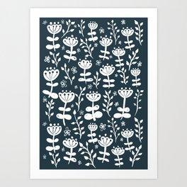 Navy Blooms Art Print