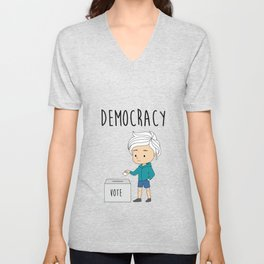 International Day of Democracy - celebrate the day for the human rights Unisex V-Neck