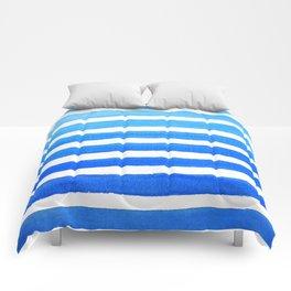 Blue Watercolor Stripes Comforters