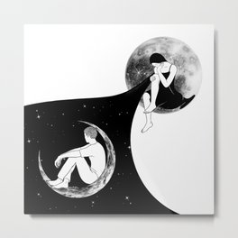 We'll never meet again (two moons) Metal Print