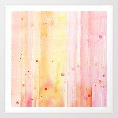Pink Orange Rain Watercolor Texture Splatters Art Print
