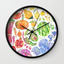 Rainbow of Fruits and Vegetables Wall Clock