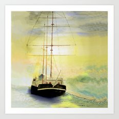 a ship at sea Art Print