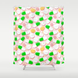 Deadly Pills Pastel Pattern Shower Curtain