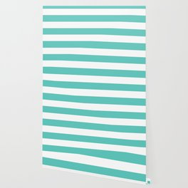 Bayside - solid color - white stripes pattern Wallpaper
