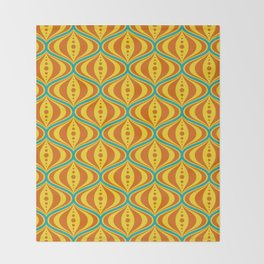 Retro Psychedelic Saucer Pattern in Orange, Yellow, Turquoise Throw Blanket