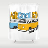 vw bus Shower Curtains featuring VW Camper Van Surf Bus by VelocityGallery