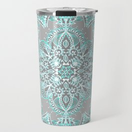 Teal and Aqua Lace Mandala on Grey Travel Mug