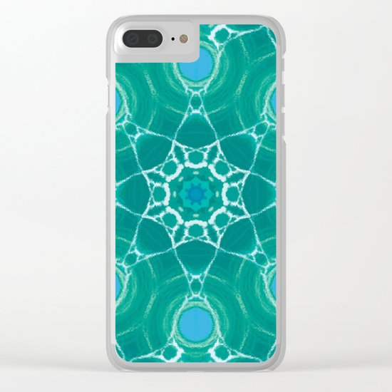 Cyan Star Mandala Clear iPhone Case