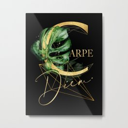 Carpe Diem – Inspiring quote in gold Metal Print