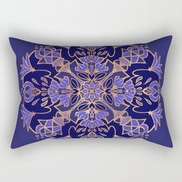 Lotus Mandala - Blue and Gold Rectangular Pillow