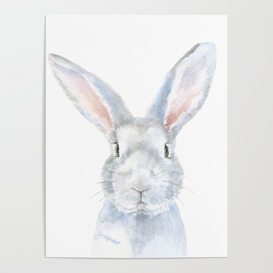 Gray Bunny Rabbit Watercolor Painting by susanwindsor