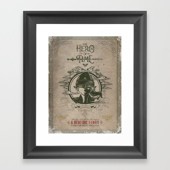 Legend of Zelda Link the Hero of Time Vintage Book Cover Framed Art Print