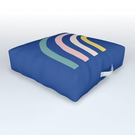 Summer Rainbows and Blue Sky Outdoor Floor Cushion