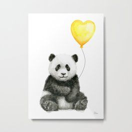 Panda with Yellow Balloon Baby Animal Watercolor Nursery Art Metal Print