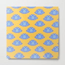 Lotus Pattern Orange Metal Print
