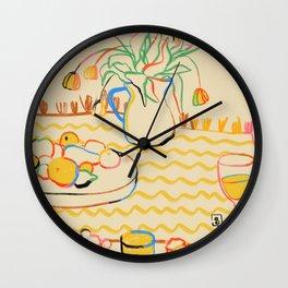 YELLOW TULIPS, WINE AND CHEESE Wall Clock