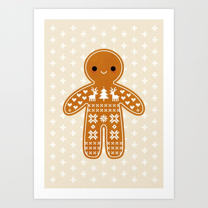 SWEATER PATTERN GINGERBREAD COOKIE Kunstdrucke