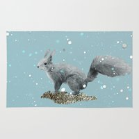 squirrel Area & Throw Rugs featuring SQuirrel by Monika Strigel®