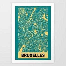 Bruxelles, Belgique, city map, Teal Art Print