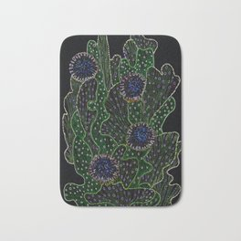 Blooming Cactus, Black and Neon Bath Mat