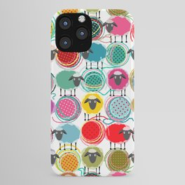 Bright Sheep and Yarn Pattern iPhone Case
