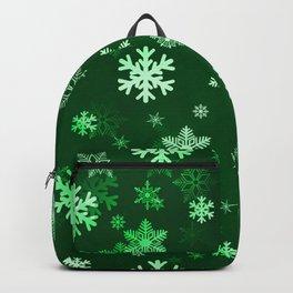 Dark Green Snowflakes Backpack