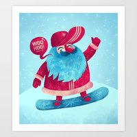 snowboard Art Prints featuring Snowboard Santa by Lime