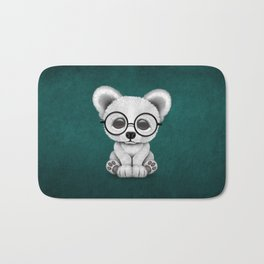 Cute Polar Bear Cub with Eye Glasses on Teal Blue Bath Mat